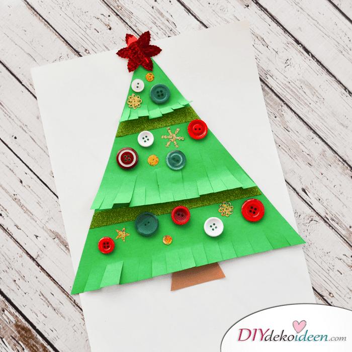 Weihnachtsbasteln mit Kindern - 15 Ideen - basteln mit Kindern - basteln mit Knöpfen - Weihnachten Dekoidee