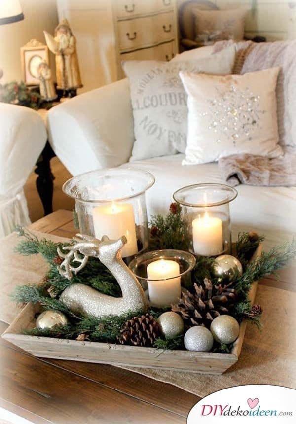 15 Weihnachtstischdeko Ideen - Tisch Dekoideen für Weihnachten - Bastelideen Weihnachten Dekoration