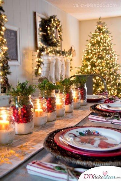 15 Weihnachtstischdeko Ideen - Tisch Dekoideen für Weihnachten - Bastelideen