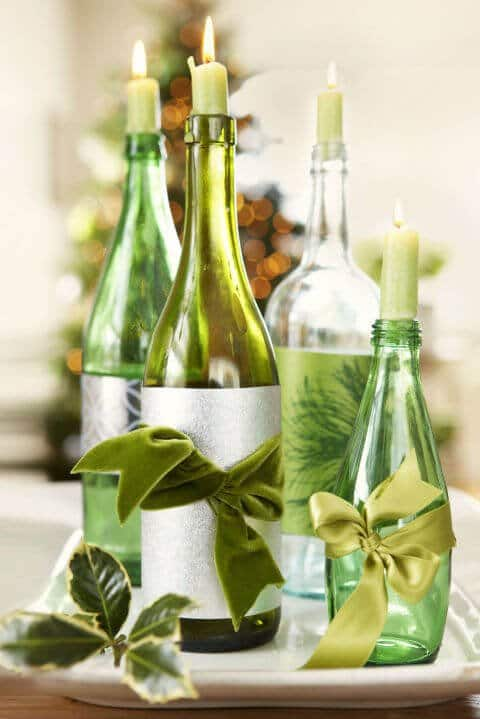 15 Ideen für DIY Weihnachtsdekoration - Weihnachten Dekoideen - Weihnachtsdeko - dekorieren Kerzen Flaschen