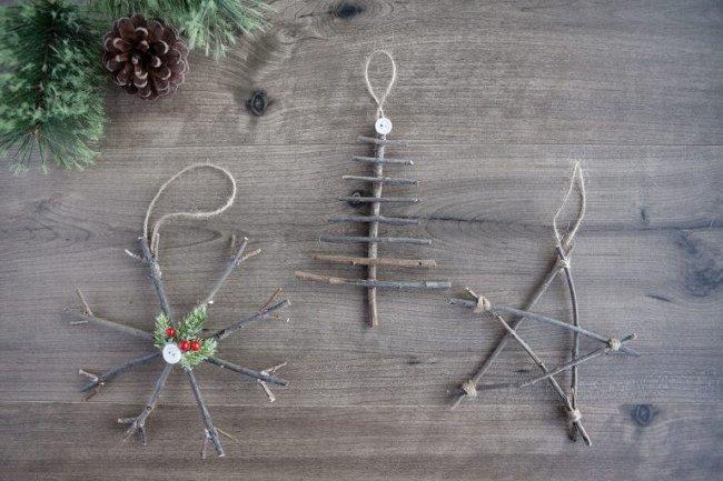 15 leichte DIY Weihnachtsdeko Ideen zum Selbermachen - Weihnachten DIY Deko Ideen Christbaumschmuck aus Zweigen