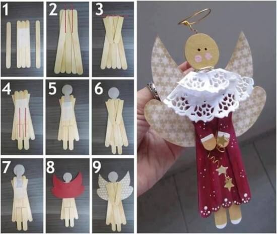 Weihnachtsengel basteln - Über 20 DIY Bastelideen - Weihnachtsbasteln - Engel basteln mit Eisstielen