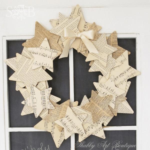Weihnachtskranz basteln - 20 Ideen - Weihnachten 2017 - basteln für Weihnachten - DIY Dekoideen Weihnachten - Stern Türkranz selber basteln - DIY Weihnachtsdeko - basteln mit Papier