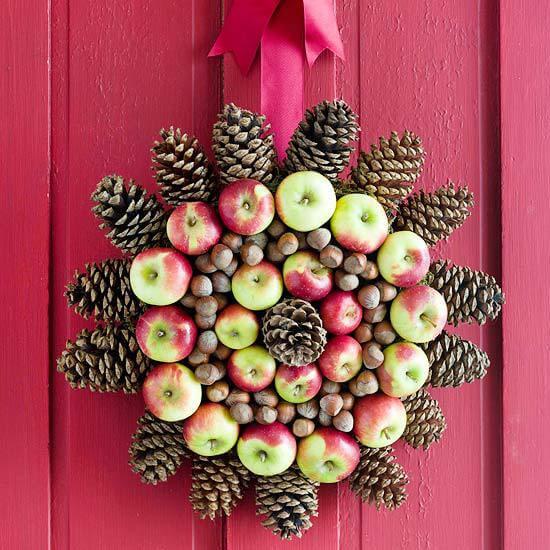 Weihnachtskranz basteln - 20+ Ideen zum selbermachen - Weihnachten 2017 - kreative Bastelideen - basteln mit Tannenzapfen