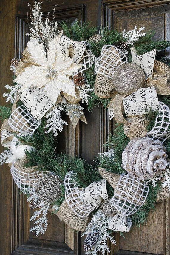 kreativ Weihnachtskranz basteln - 20+ Ideen zum selbermachen - Weihnachten 2017 - kreative Bastelideen - Türkranz romantisch Weihnachtsdeko - Weihnachten Trend