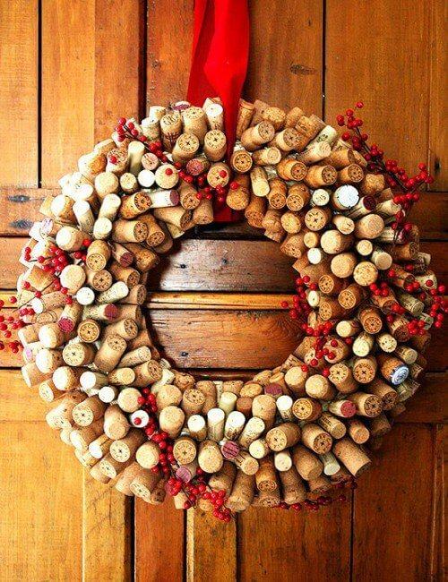 kreativ Weihnachtskranz basteln - 20+ Ideen zum selbermachen - Weihnachten 2017 - kreative Bastelideen - basteln mit Korken