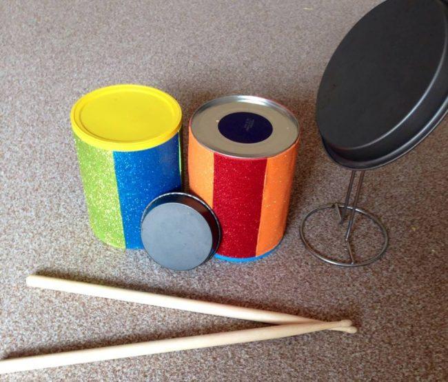 Babyspielzeug basteln -10+ süße DIY Bastelideen zum Selbermachen - Baby Spielzeug basteln - Babys - Kleinkinder - Trommeln basteln - Musikinstrumente