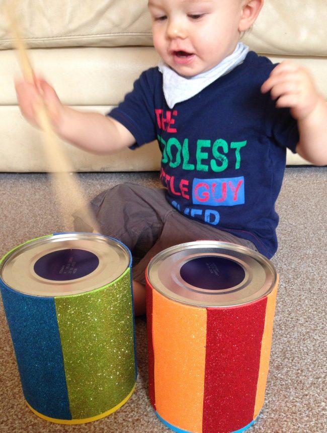 Babyspielzeug basteln -10+ süße DIY Bastelideen zum Selbermachen - Baby Spielzeug basteln - Babys - Kleinkinder - Trommeln basteln