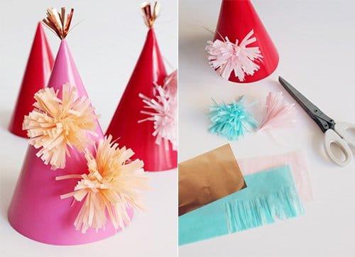 Deko für Karneval basteln, DIY Bastelideen, Karneval Partydeko, Karneval dekorieren, Fasching, Faschingsparty, DIY Dekoideen, Partyhütchen basteln, Kinderparty