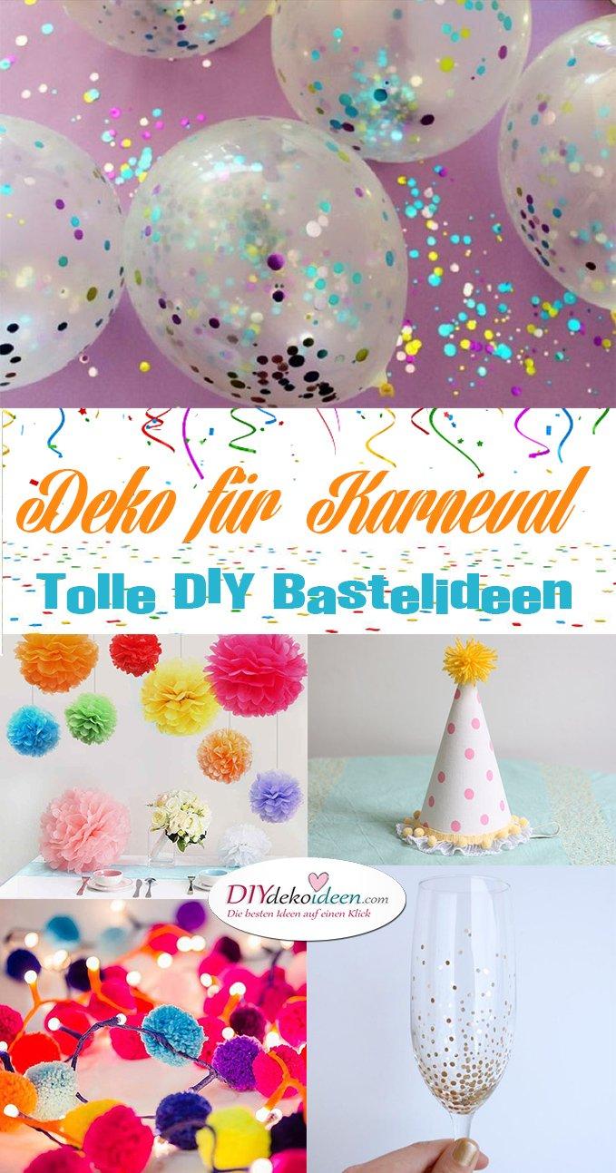 Deko für Karneval basteln, DIY Bastelideen, Karneval Partydeko, Karneval dekorieren, Fasching, Faschingsparty, DIY Dekoideen