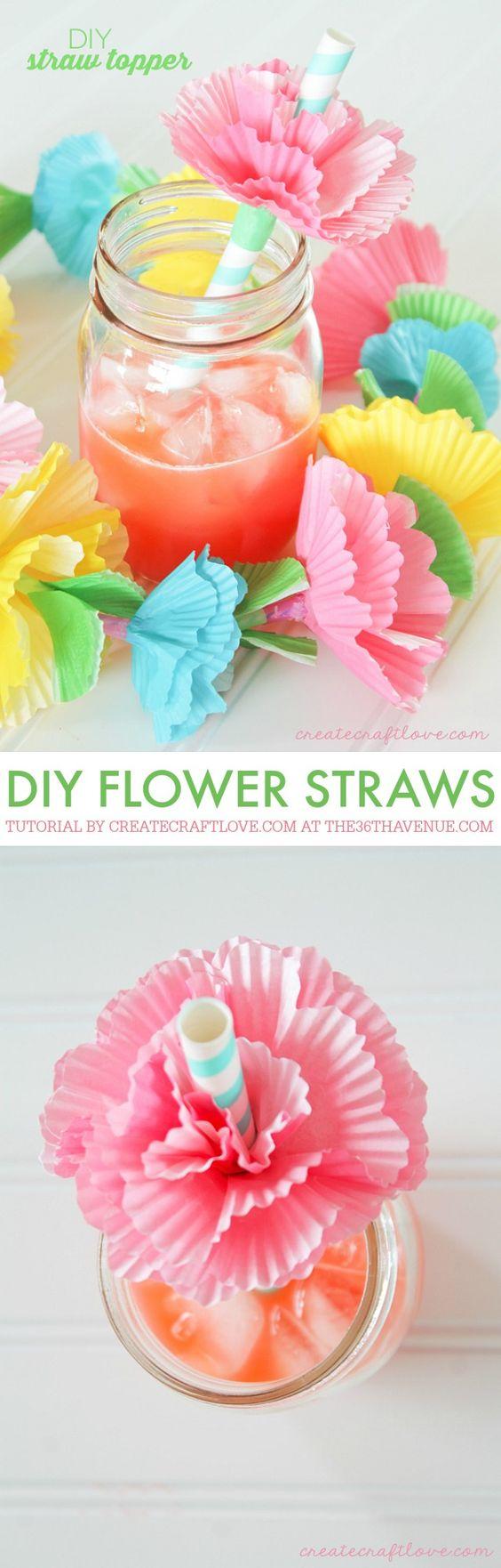 Blumenstrohhalme basteln, DIY Party Dekoideen zum selber machen, Partydeko Ideen, Party dekorieren, Geburtstagsparty Deko, Deko selber machen,