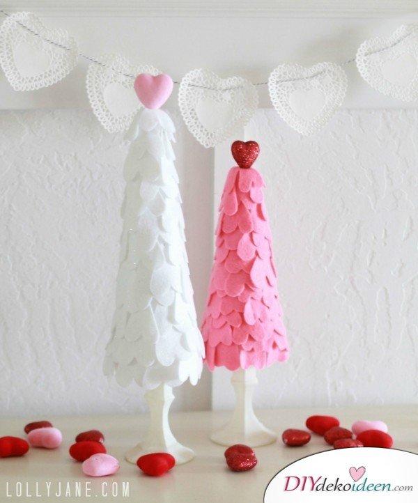 DIY Herzbäumchen, Valentinstag, Tischdeko, , Valentinstag Deko Ideen, Deko Valentinstag, dekorieren, DIY Dekoideen, Deko basteln, romantische Deko,