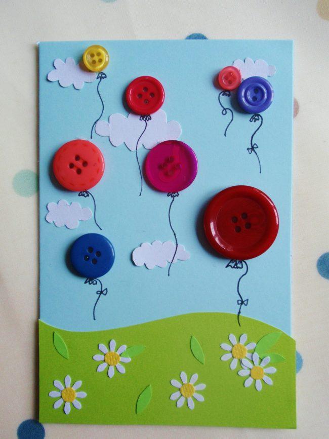 Geburtstagsparty DIY Deko - Kindergeburtstag -10+ Ideen Bastelideen Kinderparty Deko - Geburtstagskarte basteln mit Knöpfen Karte