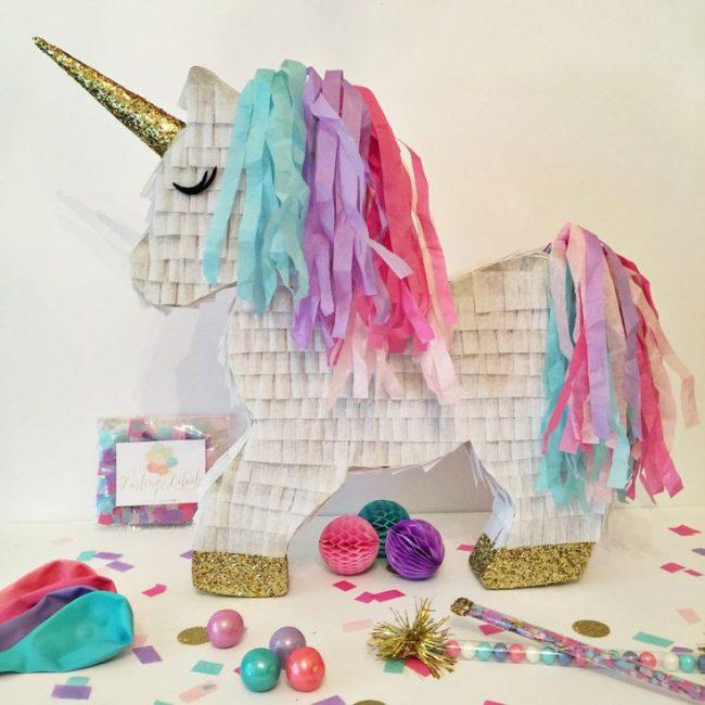 Geburtstagsparty DIY Deko - Kindergeburtstag -10+ Ideen Bastelideen Kinderparty Deko - Einhorn Pinata basteln