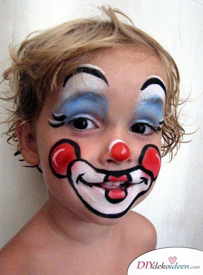 15+ Karneval Schminkideen, Clown, Clown Make up, Clown schminken, Karneval, Schminktipps, Fasching Schminken, Kinder Karneval Make up, Kinder schminken, Make up Fasching, Karneval Kostüm Ideen,