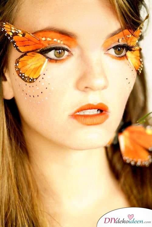 15+ Karneval Schminkideen, Schmetterling, Schmetterling Make up, Schmetterling schminken, Karneval, Schminktipps, Fasching Schminken, sexy Karneval Make up, Make up Fasching, Karneval Kostüm Ideen,