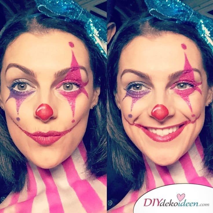 15+ Karneval Schminkideen, sexy Harlekina, Harlekina Make up, Harlekina schminken, Clown schminken, Karneval, Schminktipps, Fasching Schminken, sexy Karneval Make up, Make up Fasching, Karneval Kostüm Ideen,