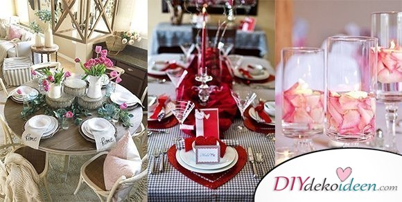Wunderschöne DIY Ideen für romantische Tischdeko zum Valentinstag