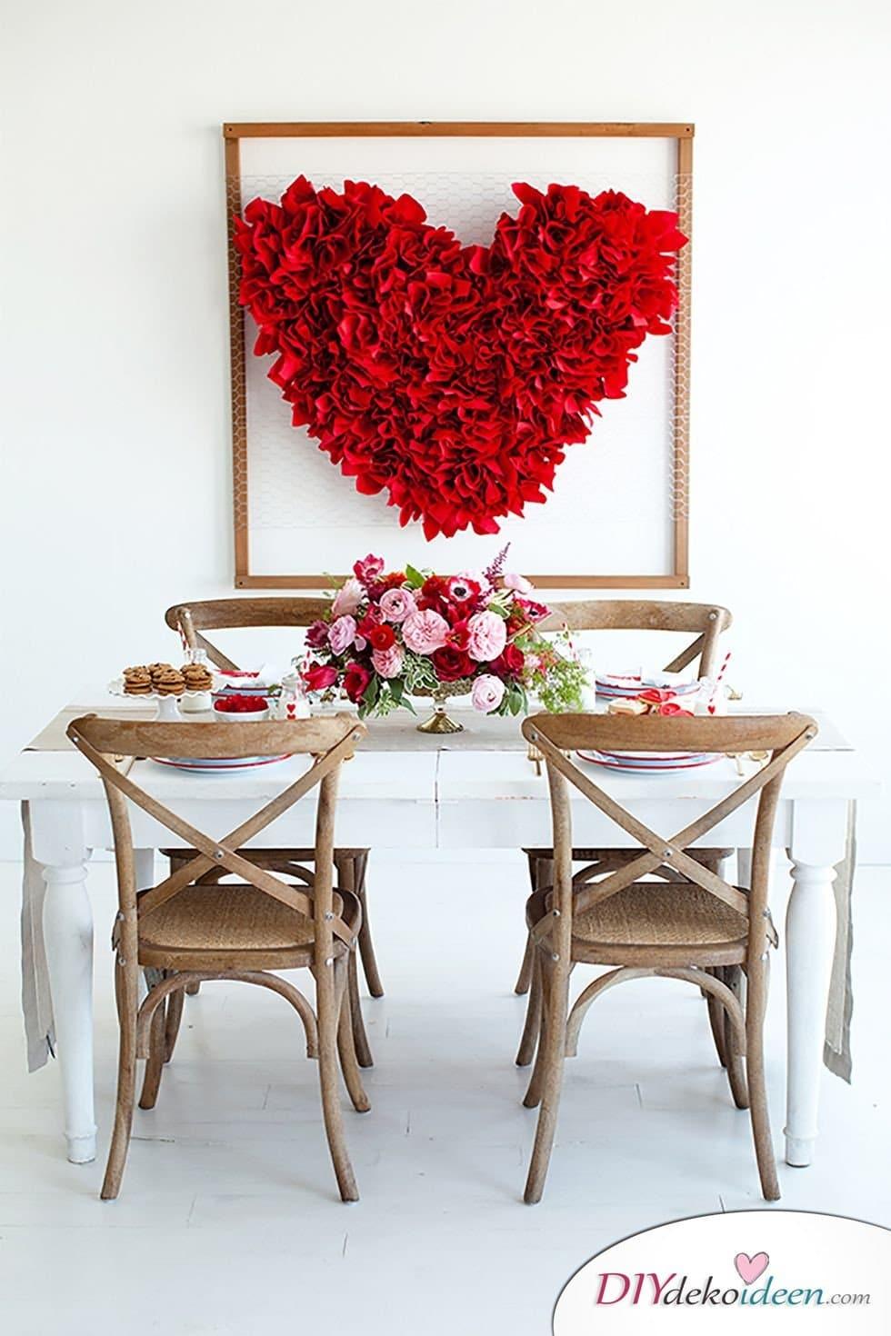 Herzdeko, Valentinstag Deko Ideen, Deko Valentinstag, dekorieren, DIY Dekoideen, Deko basteln, romantische Deko, Wanddeko Valentinstag