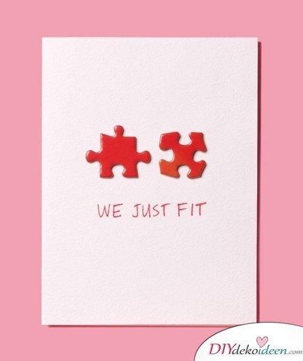Puzzle-Karte, Valentinstag Karten basteln, Valentinstag, Valentinstag basteln, Valentinstag Bastelideen, DIY Bastelideen, romantisch, Karten basteln