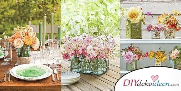 Zauberhafte DIY Dekoideen für Frühlingstischdeko mit Blumen