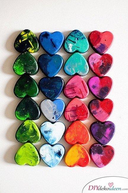 Herzwachsmalkreiden, Valentinstag Karten basteln, Valentinstag, Valentinstag basteln, Valentinstag Bastelideen, DIY Bastelideen, romantisch, Karten basteln