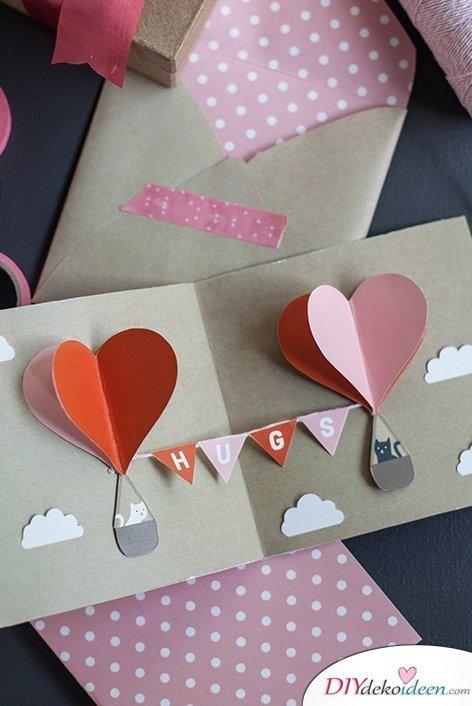 DIY Valentinstagskarte, Valentinstag Karten basteln, Valentinstag, Valentinstag basteln, Valentinstag Bastelideen, DIY Bastelideen, romantisch, Karten basteln