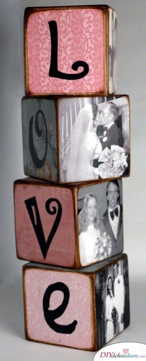 DIY Foto Bauklötze, Valentinstag Karten basteln, Valentinstag, Valentinstag basteln, Valentinstag Bastelideen, DIY Bastelideen, romantisch, Karten basteln