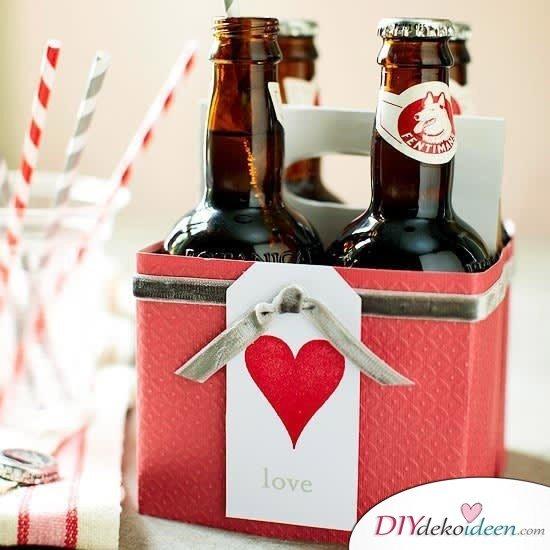 Bierkasten Geschenkidee, Valentinstag Karten basteln, Valentinstag, Valentinstag basteln, Valentinstag Bastelideen, DIY Bastelideen, romantisch, Karten basteln