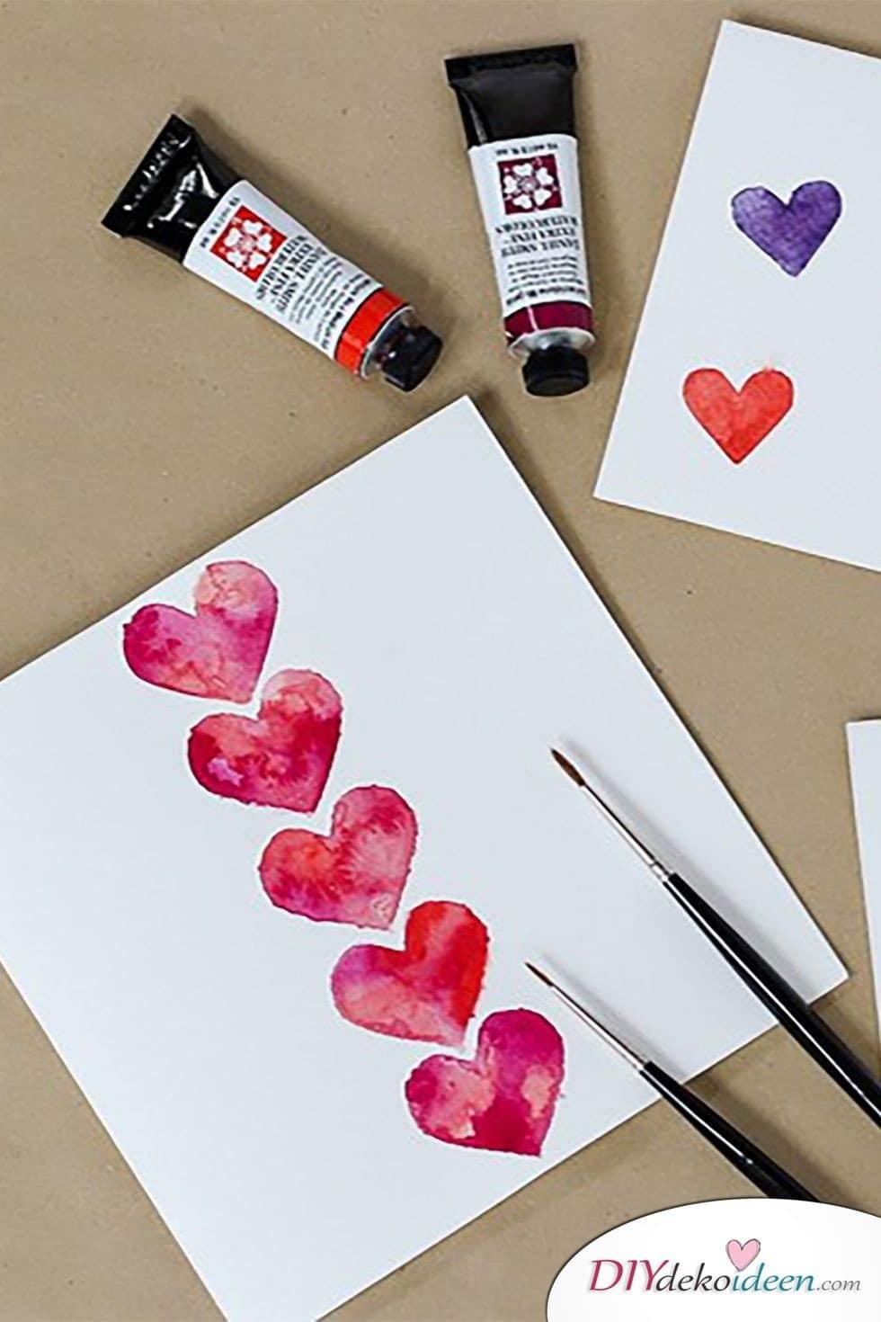 Valentinstag Karten basteln, Karte malen, Valentinstag, Valentinstag basteln, Valentinstag Bastelideen, DIY Bastelideen, romantisch, Karten basteln