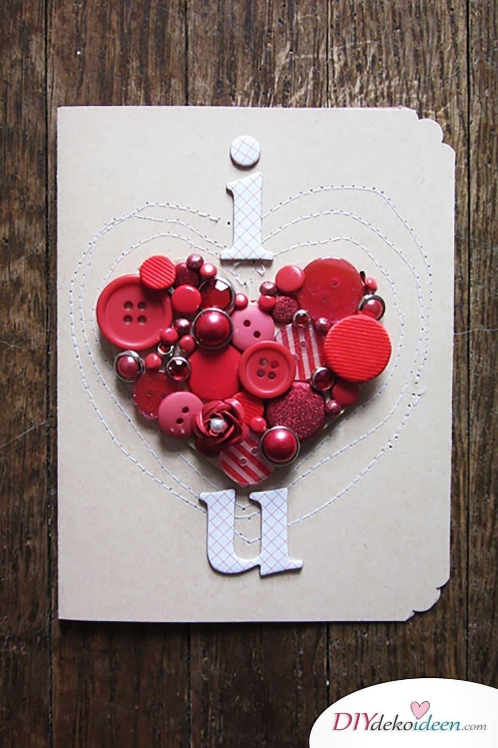 Valentinstag Karten basteln mit Knöpfen, Valentinstag Karten basteln, Valentinstag, Valentinstag basteln, Valentinstag Bastelideen, DIY Bastelideen, romantisch, Karten basteln