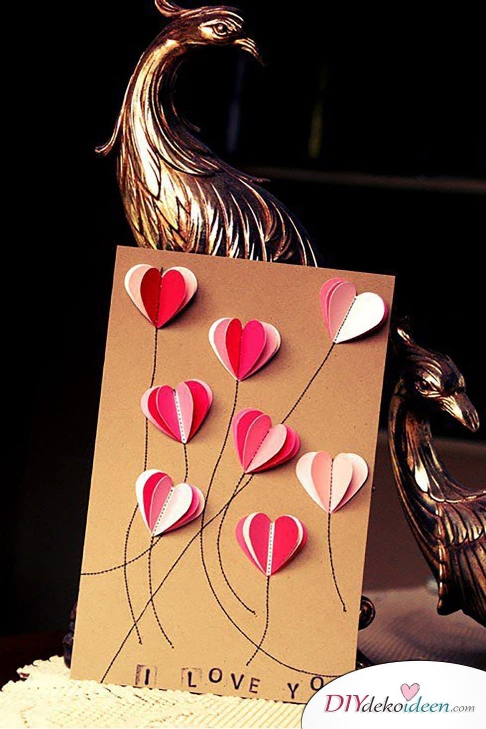Karte basteln, Valentinstag Karten basteln, Valentinstag, Valentinstag basteln, Valentinstag Bastelideen, DIY Bastelideen, romantisch, Karten basteln