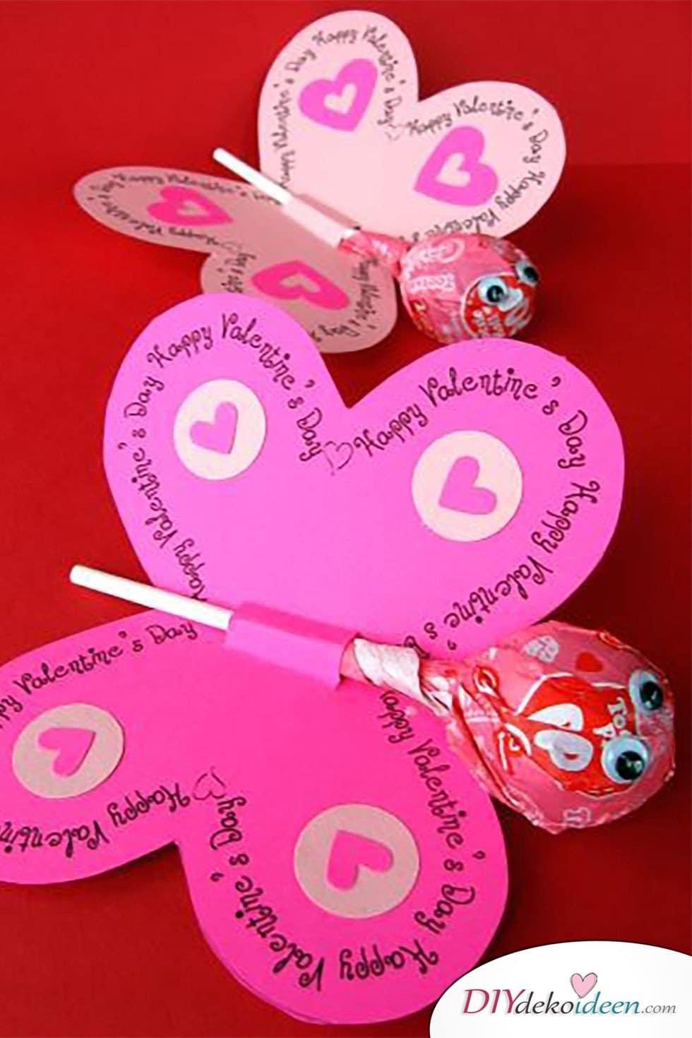 Lutscherschmetterlinge, Valentinstag Karten basteln, Valentinstag, Valentinstag basteln, Valentinstag Bastelideen, DIY Bastelideen, romantisch, Karten basteln