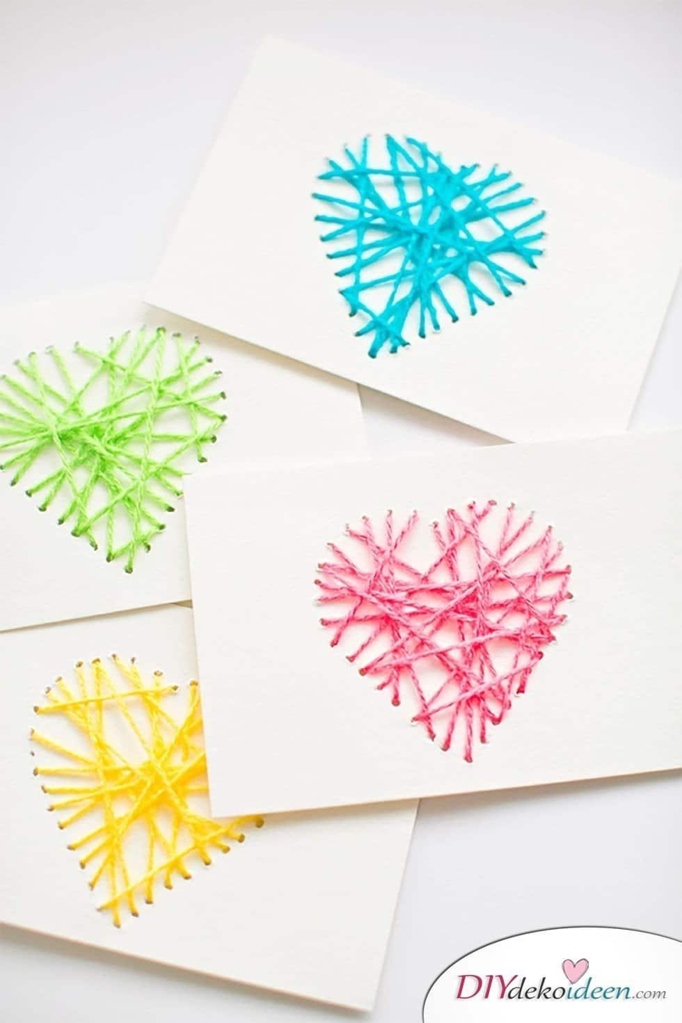 Valentinstag Karten basteln mit Garn,Valentinstag Karten basteln, Valentinstag, Valentinstag basteln, Valentinstag Bastelideen, DIY Bastelideen, romantisch, Karten basteln