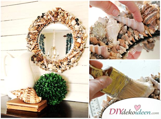 Spiegel verschönern, Rahmen dekorieren, DIY Dekoideen, dekorieren, Spiegel, Zimmer Deko, Zimmer dekorieren, Schlafzimmer Deko