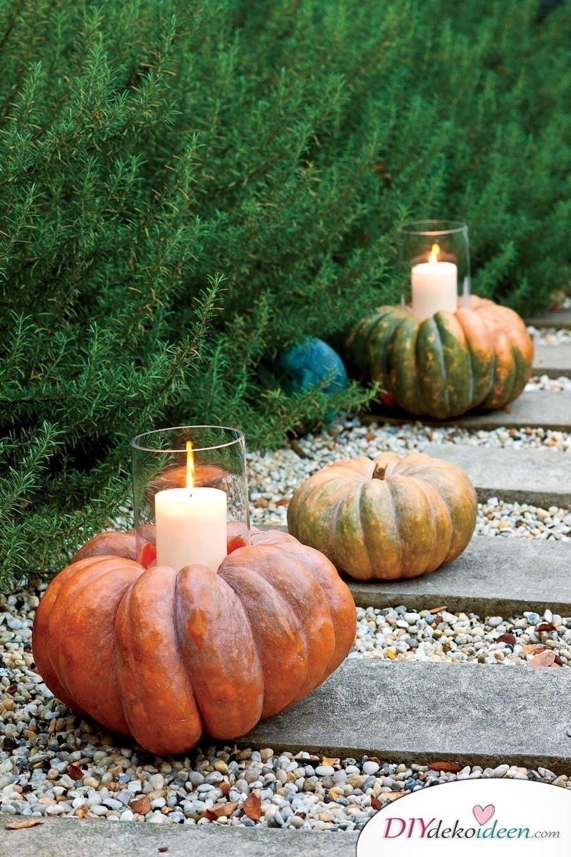 Deko mit Kürbissen - 15 Dekoideen für Haus und Garten - Kürbis Kerzengläser