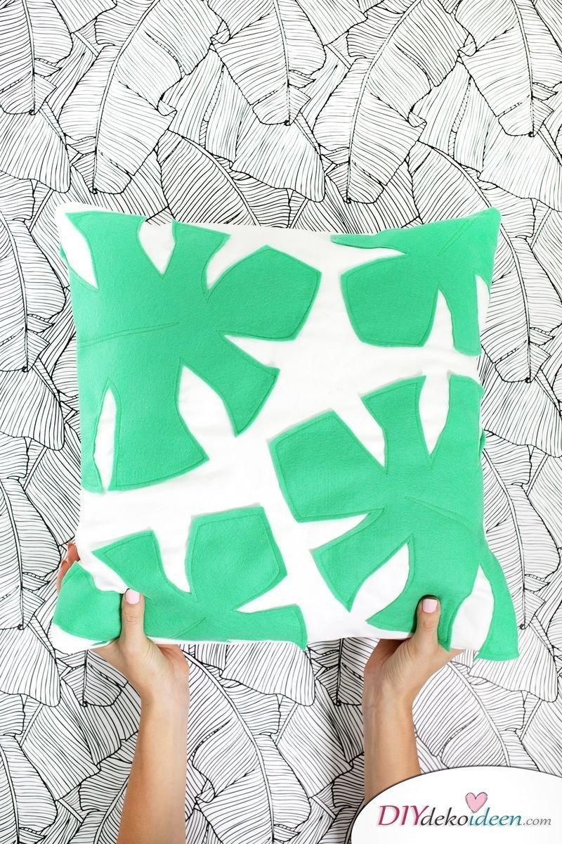 Kissen selber machen - Wohndeko mit Palmenblättern