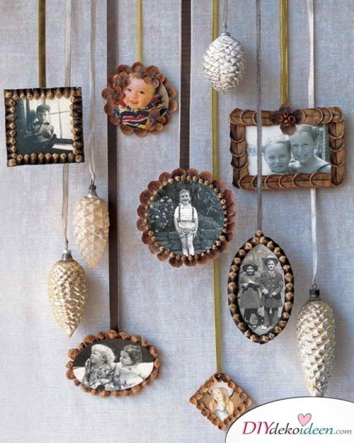 Basteln mit Tannenzapfen Herbst - 14 Bastelideen mit Tannenzapfen - Tannenzapfen Bilderrahmen