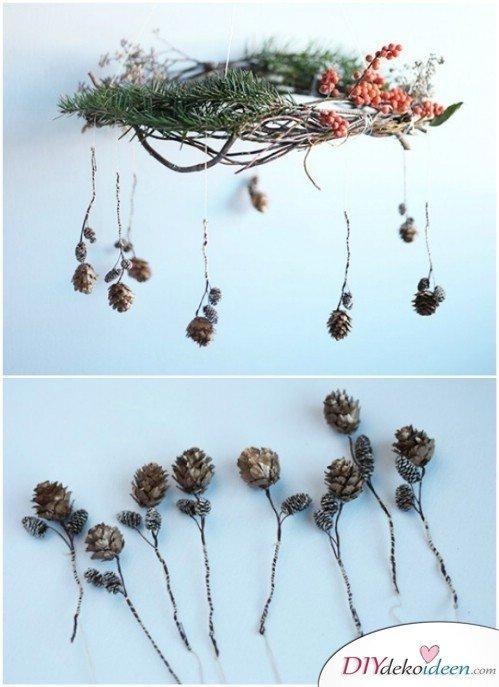Basteln mit Tannenzapfen Herbst - 14 Bastelideen mit Tannenzapfen - Tannenzapfen Mobile
