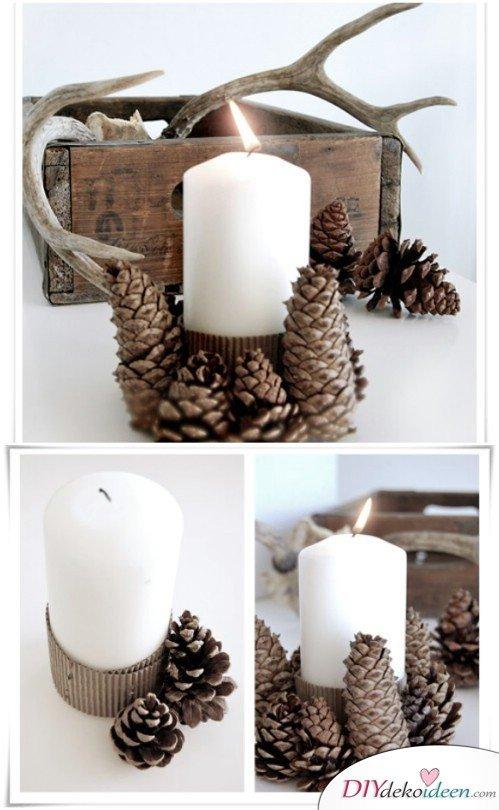 Basteln mit Tannenzapfen Herbst - 14 Bastelideen mit Tannenzapfen - Tannenzapfen Kerze