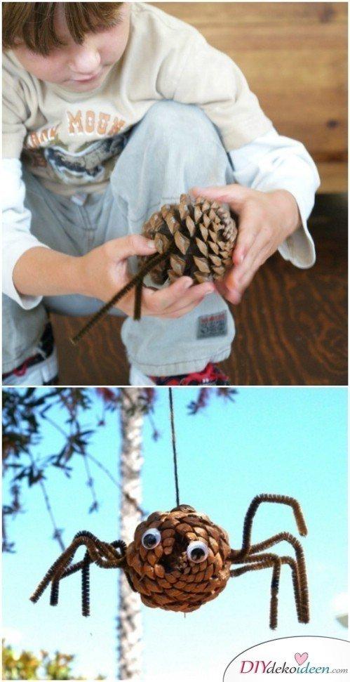 Basteln mit Tannenzapfen Herbst - 14 Bastelideen mit Tannenzapfen - Tannenzapfen Spinne