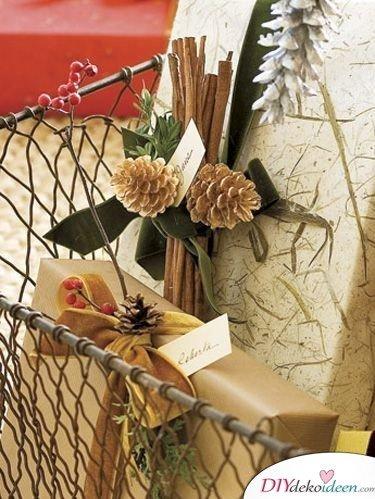 Geschenke verpacken mit Tannenzapfen - Basteln mit Tannenzapfen Weihnachten