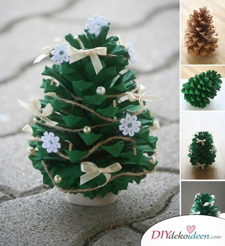 Basteln mit Tannenzapfen Weihnachten - DIY Bastelideen Weihnachten
