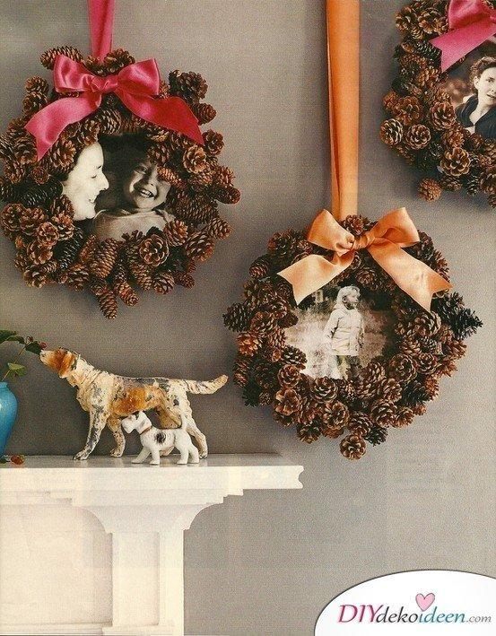 Basteln mit Tannenzapfen Weihnachten - DIY Geschenkideen Fotorahmen
