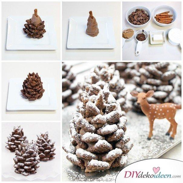 Basteln mit Tannenzapfen Weihnachten - Essbare Tannenzapfen Rezept Weihnachten Plätzchen