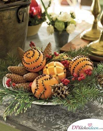Basteln mit Tannenzapfen Weihnachten - Duftendes Adventspotpourri