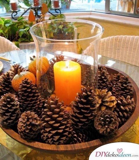 Basteln mit Tannenzapfen Weihnachten - Kerzenlicht