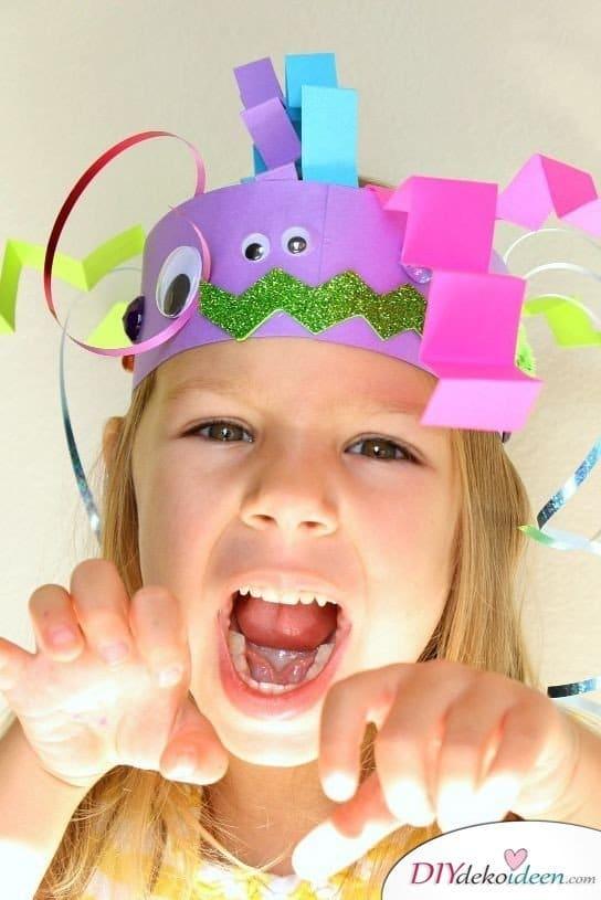Halloween Deko basteln mit Kindern - 10 Bastelideen - Monster-Stirnbänder