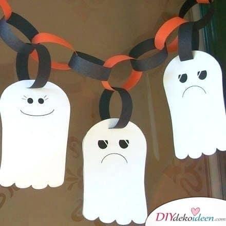 Halloween Deko basteln mit Kindern - 10 Bastelideen - Geister-Girlande