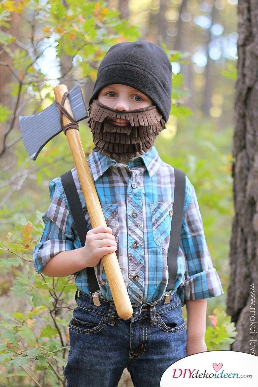 15 witzige Halloween Kostüm Ideen für Kinder zum selbermachen - Holzfäller - Kinderkostüm